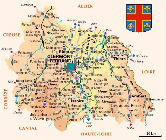 carte touristique puy de dome Arrondissement of Clermont Ferrand